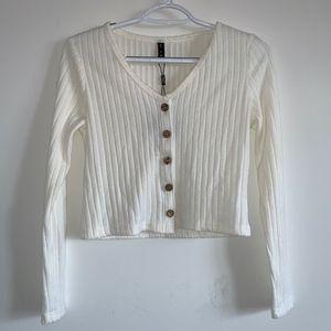 Zaful White Buttoned Shirt/Sweater